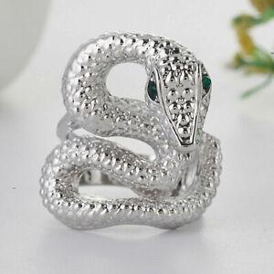 925 Sterling Silver Elegant New Fashion Jewelry King Cobra Snake Ring Size 9.5