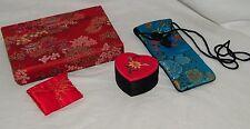 Asian Silk Gift Bags Box Vintage Brocade Jewelry Eyeglass 19259