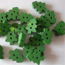 50Pcs Green 2 Holes Christmas Tree Wooden Buttons for Scrapbooking Craft Sewing