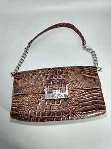 Marc Fisher brown faux croc silver color chain shoulder bag