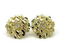 2 Grams Mens Ladies 10k Real Yellow Gold Round nugget Earrings Studs