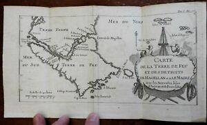 Tierra del Fuego South America Straits of Magellan c. 1756 engraved map