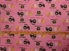 JOHN DEERE fabric PINK DUCK DUCK TRACTOR FABRIC LOGOS CP54810 BTY NEW