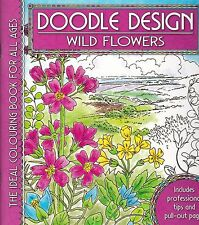 Wild Flowers Colouring Book - Doodle Design - Art Therapy, New
