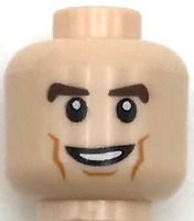 Lego New Light Flesh Minifigure Head Dual Sided Brown Eyebrows Cheek Lines