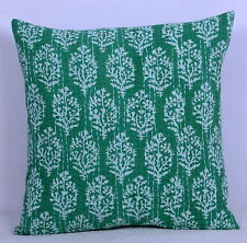 Square Kantha Stitch Cushion Cover Floral Pattern 40X40cm Green Pillow Case