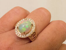 FIERY FIERY! LARGE Amazing 360 degree NEON Colors Opal And Diamond Ring-Size 6.5