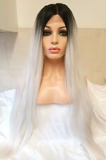Platinum White Grey Silver Blonde Full Hair Wig Front Lace Wig Ombre centre part