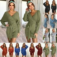 Autumn Winter Women Long Sleeve V-Neck Bodycon Short Mini Party Pencil Dress