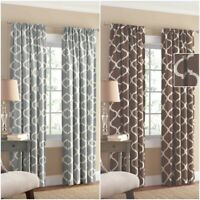 New Mainstays Gray Brown White Ironwork Window Curtain Panel 50 x 84 Inches