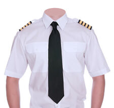 Mens Pilot Shirt Short /Long Sleeve Security Guard Doorman Uniform White Epaulet