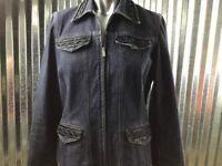 Jones New York Signature Women's Denim Jacket Blazer Geometric Beaded Trim Sz S