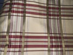 """COUNTRY CURTAINS PLAID DRAPES~GREEN,IVORY,PLUM&BURGUNDY 86""""LONG"""