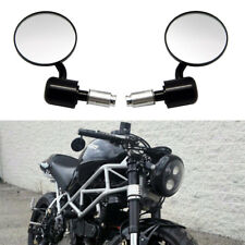 "Motor Black 3"" Round 7/8"" Handle Bar End Side Mirrors For Ducati Diavel Monster"