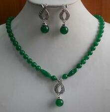 """Hot NEW 18k White Gold GP Green Emerald Necklace Pendant Earring Set 18"""""""