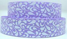 "Grosgrain Ribbon 7/8"" &1.5"" Light Orchid & White Floral Swirls Pattern Printed."