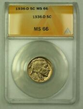 1936-D Buffalo Nickel 5c ANACS MS-66 (B) (WW)
