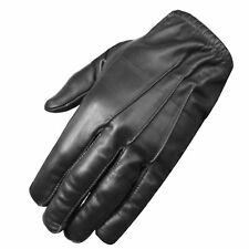 Premium Leather Police Driving Tactical Duty Thin Unlined Search Gloves Black