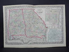 1874 Mitchell's New General Atlas Double Page Georgia & Alabama R7#02