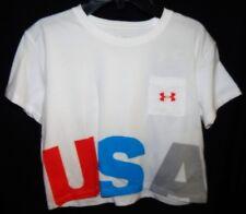 "Under Armour HeatGear Girls ""USA"" Cropped Tee Sz YMD Loose White NWT"