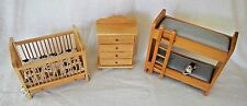 3 Classics Kid Baby Room Furniture Wood Doll House Crib Chest Drawer Bunk Bed
