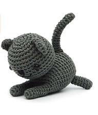 Cat Handmade Amigurumi Stuffed Toy Knit Crochet Doll VAC (Grey)