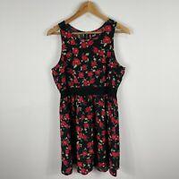 Dotti Womens Dress 12 Black Floral Sleeveless Round Neck Zip Closure