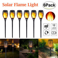 6pcs Solar LED Flame Light Waterproof Outdoor Garden Yard Flicking Torch Lamp