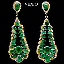 """66 CTS!! HUGE!! NATURAL TRANSLUCENT GREEN EMERALD  925 SILVER EARRINGS 14K GP 2"""""""