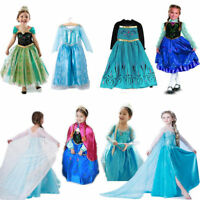Kids Girl Elsa Frozen Dress Cosplay Costume Princess Anna Party Fancy Dress 3-8Y