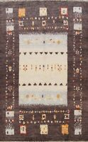 Soft Plush Geometric Moroccan Gabbeh Oriental Hand-Knotted Area Rug Wool 8x11 ft