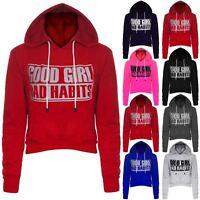 Womens Good Girl Bad Habits Print Cropped Hoodies Ladies Fleece Crop Sweatshirts