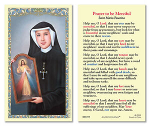 25 Laminated Holy Cards Saint Faustina Divine Mercy
