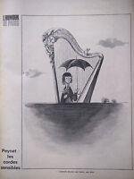 DESSIN DE PRESSE 1961 DE PEYNET LES CORDES SENSIBLES