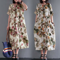 Women Cotton Ethnic Long Maxi Dress Floral Print Casual Party Loose Full Dress