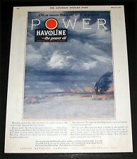 1926 OLD MAGAZINE PRINT AD, HAVOLINE, OIL IS MORE THAN OIL- IT IS POWER, ART!
