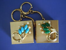 RARE VINTAGE  2 PILL BOXES KEY CHAINS ADORNED WITH GEMS IN EXCELLENT CONDITIONS