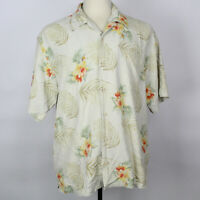 Tommy Bahama Camp Floral Aloha Hawaiian 100% Silk Shirt Men Sz Large L EUC