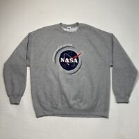 Gildan NASA Mens XL Sweatshirt Elastic Waist Pull Over Big Logo Long Sleeve Gray