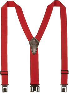 Mens Heavy Duty Suspenders Perry Y-Back Adjustable Hook Clips Belt Closure Red