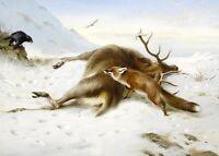 Oil painting bird Vulture fox the dead deer in winter snow landscape Hand painte