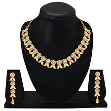 Choker Indian Bollywood Fashion Gold Plated Wedding Jewelry Kundan Necklace Set