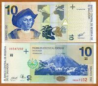 El Salvador, 10 Colones, 1998, P-148, UNC > Columbus, Pre-USD$