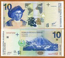 El Salvador, 10 Colones, 1998, P-148, UNC > Columbus, Pre-USD$