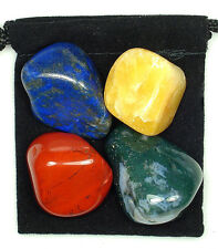 PROCRASTINATION Tumbled Crystal Healing Set = 4 Stones + Pouch + Card