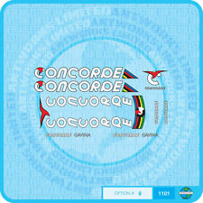 Concorde Gavina Bicycle Decals - Transfers - Stickers - Set 8 - White Text