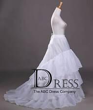 White 3 Hoop Train Wedding Dress Bridal Ball Gown Crinoline Petticoat Skirt Slip