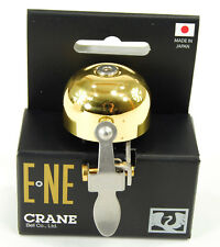 Crane E-Ne Polished Brass Bike Bell Lever-Strike fits 22mm to 31.8mm Handlebars