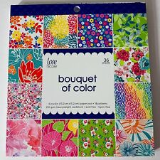 "Love Nicole Bouquet of Color Cardstock Scrapbook Paper Pad 6"" x 6"" 35 Sheets"