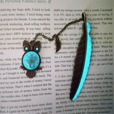 Copper Leaves Owl Feather Luminous Bookmark Book Marker Child Kid Gift WE